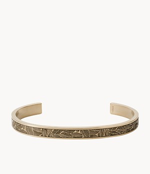 Textured Antique Gold-Tone Stainless Steel Open Cuff