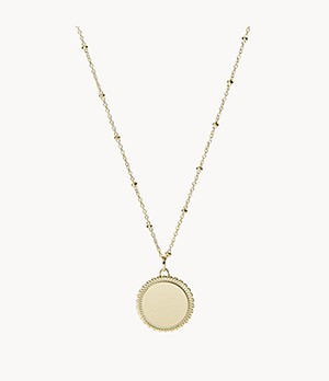 Scalloped Disc Gold-Tone Stainless Steel Necklace