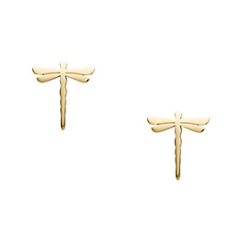 Dragonfly Gold-Tone Stainless Steel Earrings