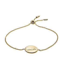 Feather Pendant Gold-Tone Stainless Steel Bracelet