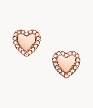 Be Mine Rose Gold-Tone Stainless Steel Stud Earrings