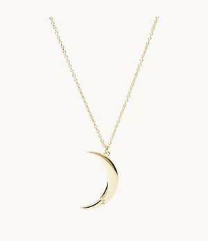 Moon Gold-Tone Stainless Steel Pendant Necklace