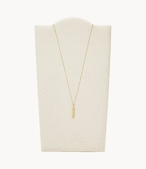 Feather Gold-Tone Stainless Steel Pendant Necklace