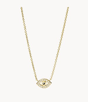 Evil Eye Gold-Tone Stainless Steel Chain Necklace