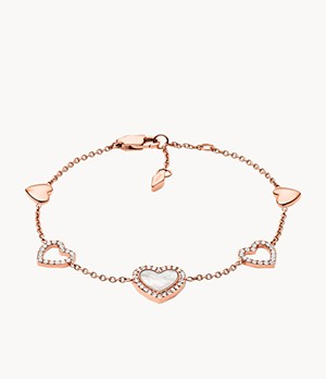Hearts To You Mother-of-Pearl Stainless Steel Chain Bracelet