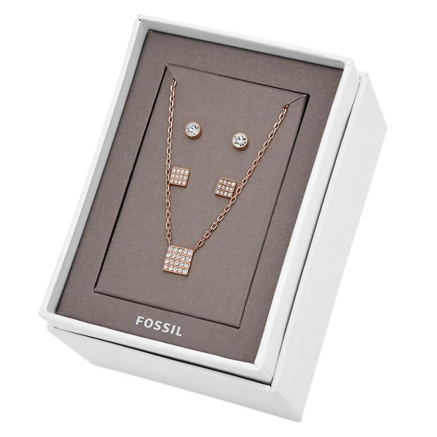 damen schmuckset ohrringe und kette studs and necklace set silber ros gold fossil. Black Bedroom Furniture Sets. Home Design Ideas