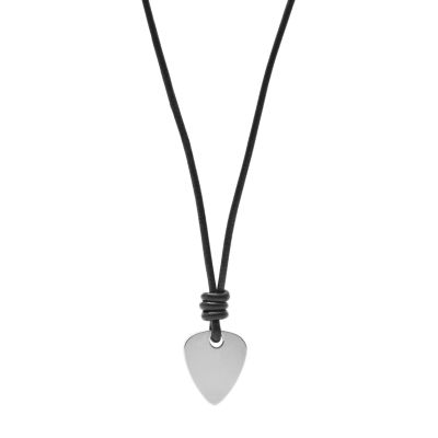 collier homme fossil cuir