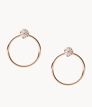 Damen Ohrringe Rose Gold-Tone Stainless Steel Drop Earrings