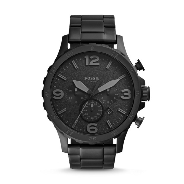 560e0932c0c Nate Chronograph Black Stainless Steel Watch - Fossil