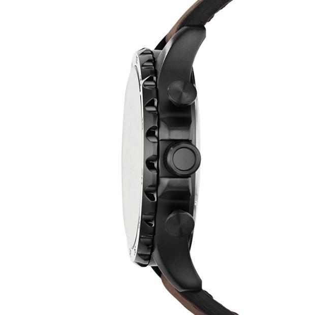 Fossil - Montre Nate chronographe en cuir - Marron - 2