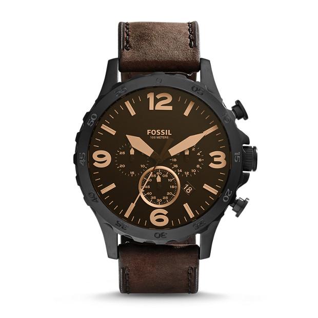 Fossil - Montre Nate chronographe en cuir - Marron - 1