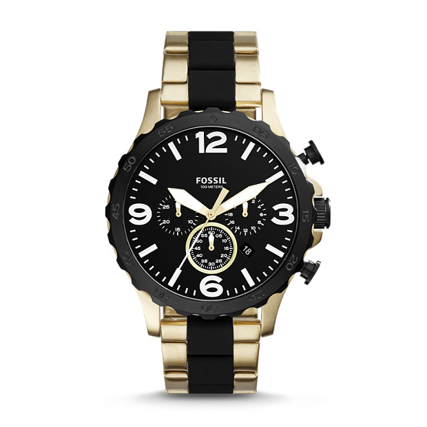 673adcb2dbe Nate 50mm Chronograph Black Silicone and Gold-Tone Stainless Steel Watch