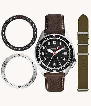 Defender Archival Series Three-Hand Date Brown Leather Watch