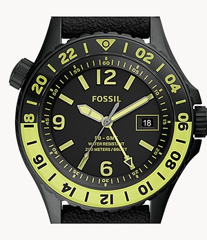 Limited Edition FB-GMT Dual-Time Black Silicone Watch