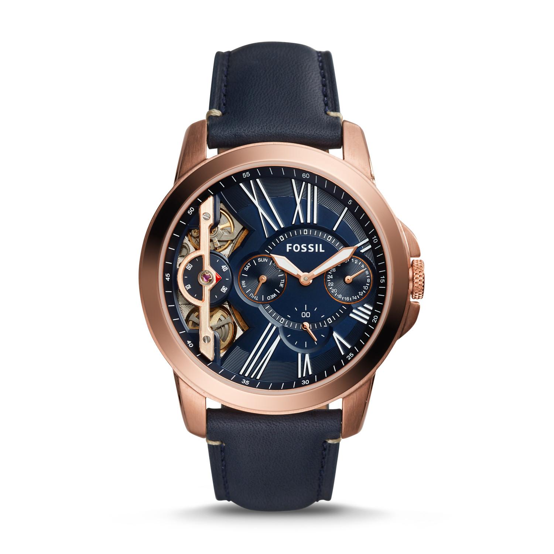 27b550cf09f Grant Twist Three-Hand Blue Leather Watch - Fossil