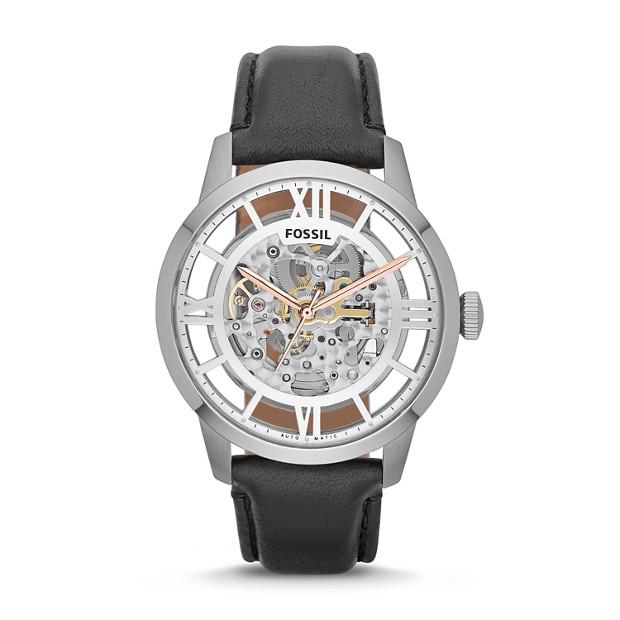 79b2b4b53ff0 Townsman Automatic Black Leather Watch - Fossil