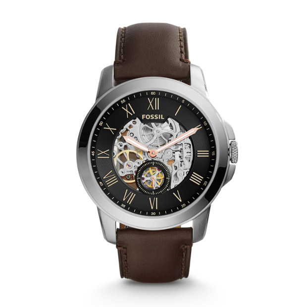 aea3d3c908d Grant Automatic Dark Brown Leather Watch - Fossil