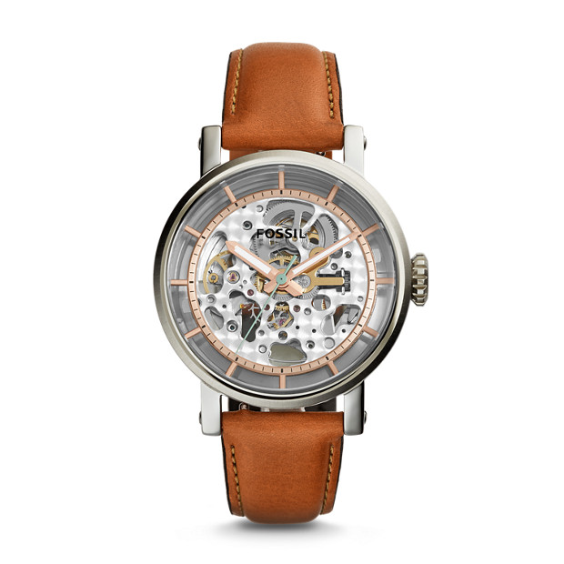 leather chronograph watch light men product fossil grant watches brown