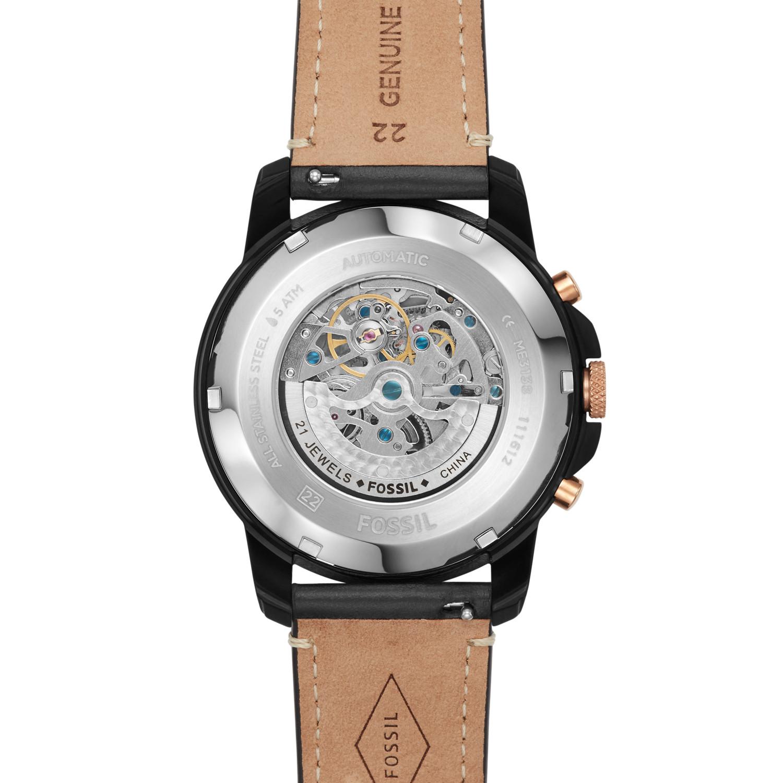 8cd71f4b39eb Grant Sport Automatic Black Leather Watch - Fossil