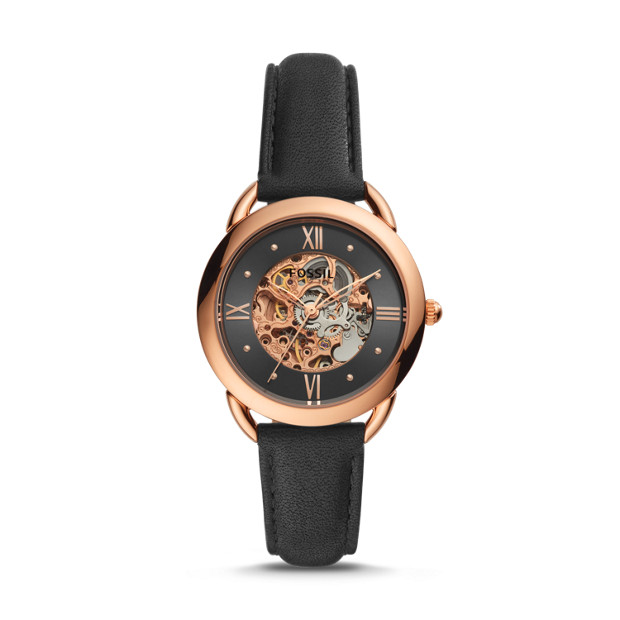 839a87eb4a5 Tailor Mechanical Black Leather Watch - Fossil