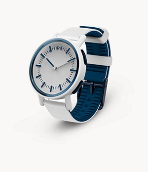 Misfit Path 36mm White with White and Navy Silicone Strap
