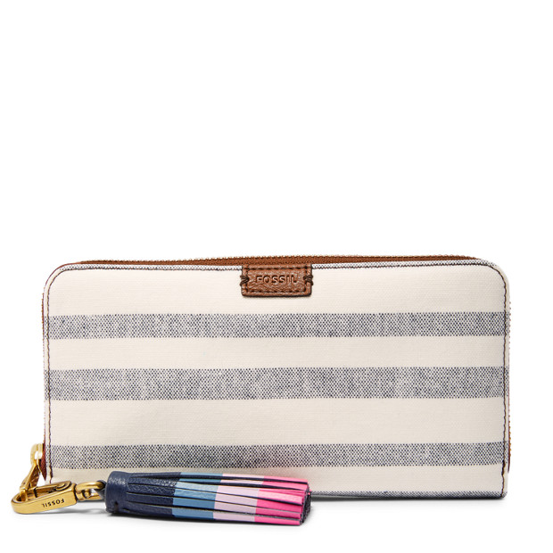 5646c8767d52 Emma RFID Large Zip Clutch - Fossil