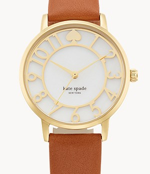 kate spade new york gramercy three-hand brown leather watch