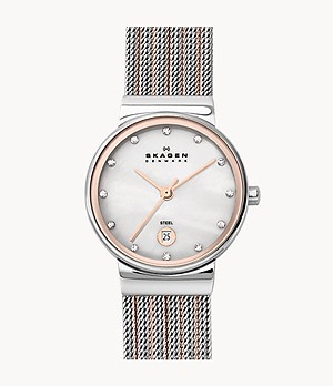 Ancher Two-Tone Steel-Mesh Watch