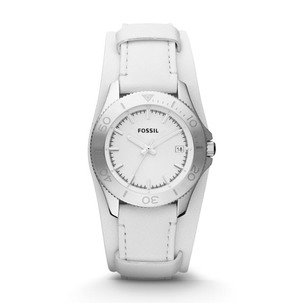 Retro Traveler White Leather Watch