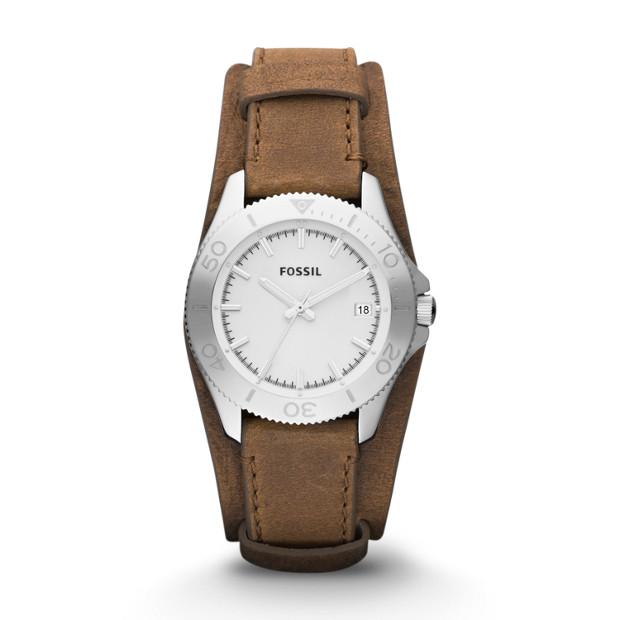 Retro Traveler Leather Watch - Brown