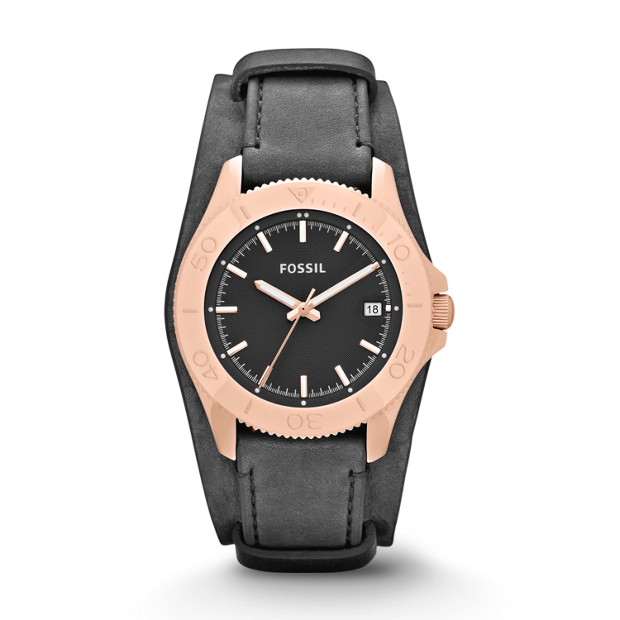 Retro Traveler Gray Leather Watch