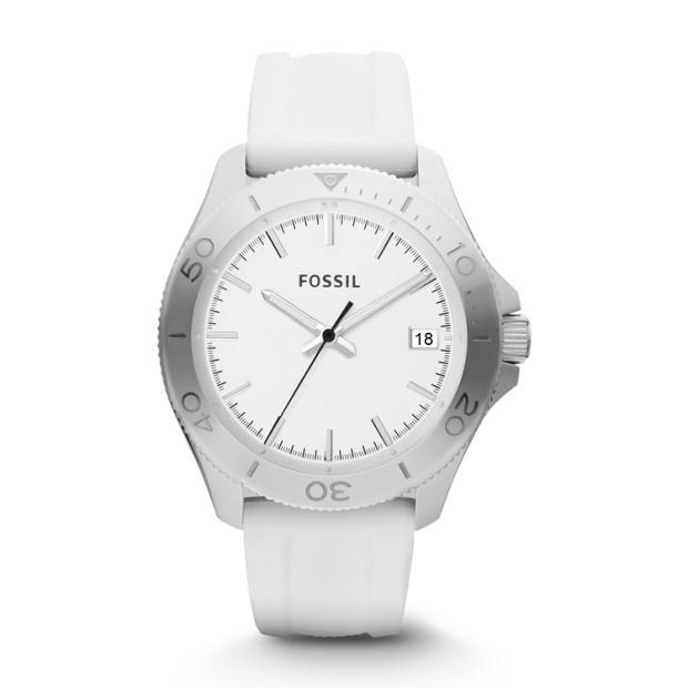 Retro Traveler Three Hand Silicone Watch - White
