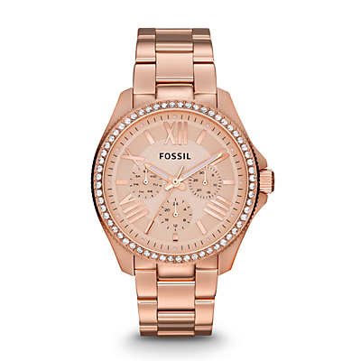 Cecile Multifunction Rose-Tone Stainless Steel Watch