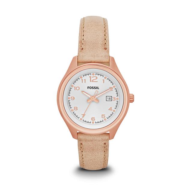 Flight Three-Hand Leather Watch - Sand