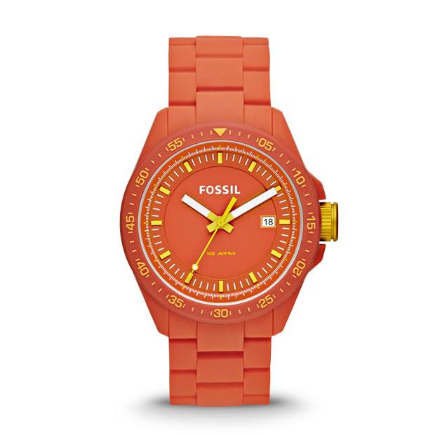 Decker Three-Hand Silicone Watch - Orange