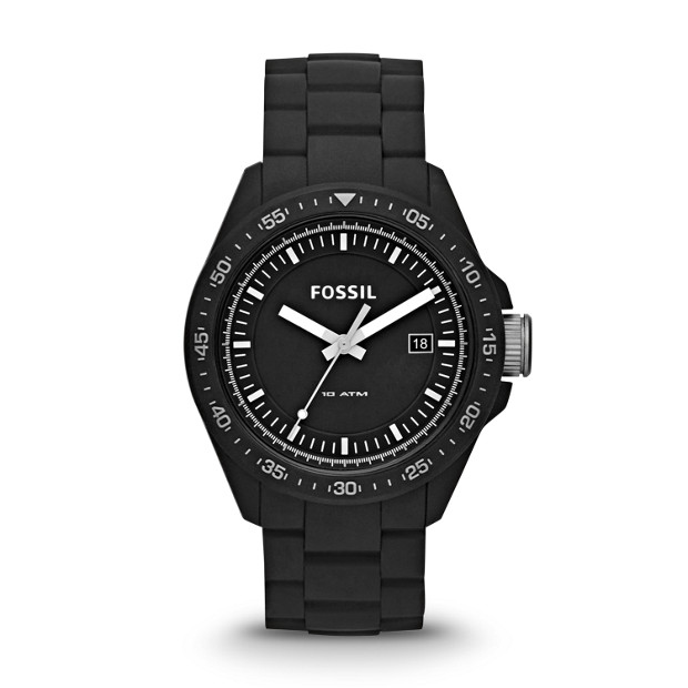 Decker Three-Hand Silicone Watch - Black