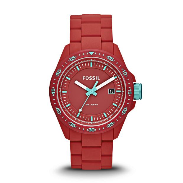 Decker Three-Hand Silicone Watch - Red