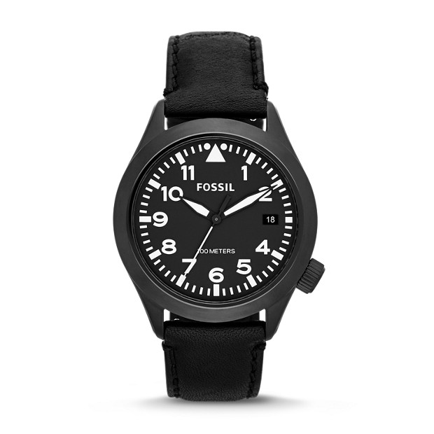 The Aeroflite Three-Hand Leather Watch - Black