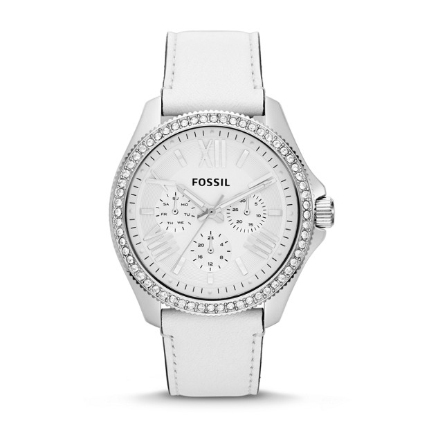 Cecile Multifunction White Leather Watch
