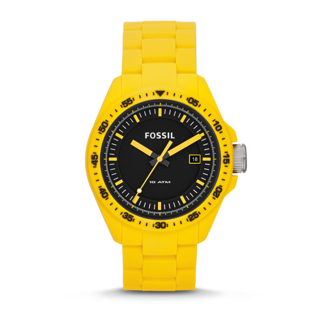 Decker Three-Hand Date Silicone Watch - Yellow