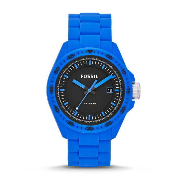 Decker Three-Hand Date Silicone Watch - Blue
