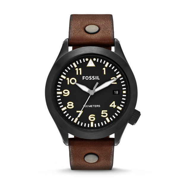 The Aeroflite Three-Hand Date Leather Watch - Brown