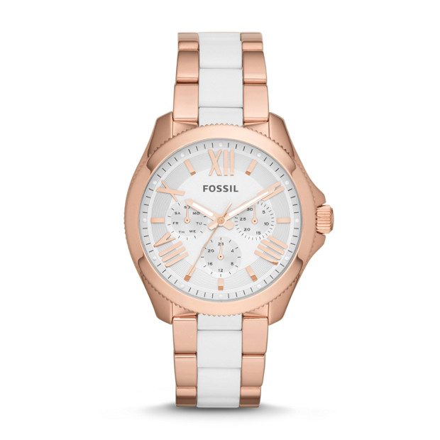 Cecile Multifunction Rose-Tone Stainless Steel & Nylon Watch
