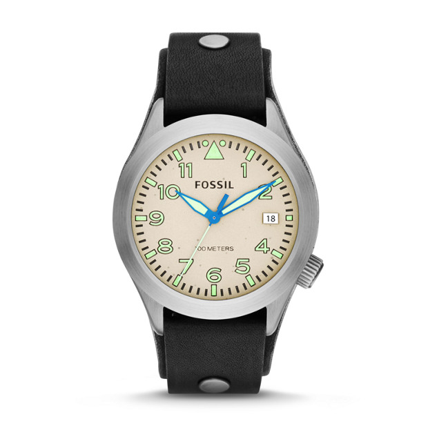 Aeroflite Black Leather Watch