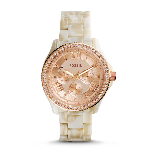 Cecile Multifunction Shimmer Horn Resin Watch