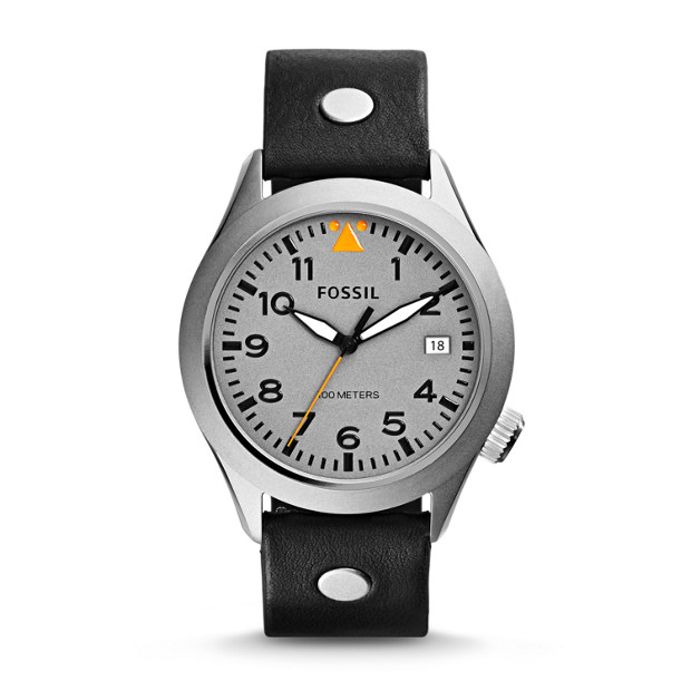 The Aeroflite Three-Hand Date Leather Watch - Black