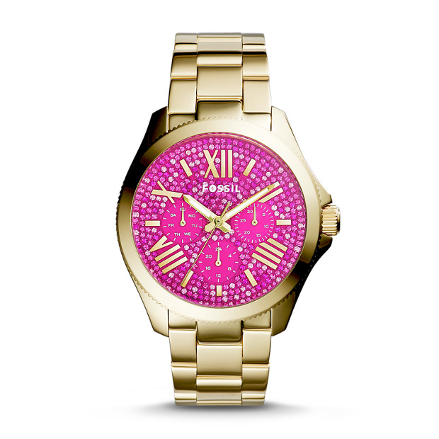 Cecile Multifunction Gold-Tone & Fuschia Stainless Steel Watch