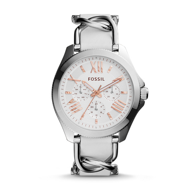 Cecile Multifunction Silver & White Leather Watch