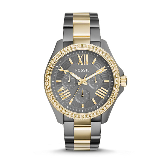Cecile Multifunction Smoke & Gold-Tone Stainless Steel Watch