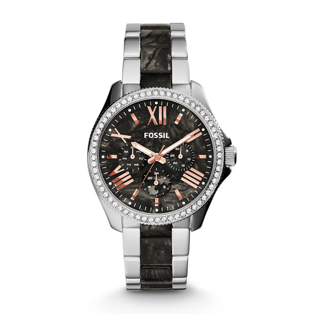 Cecile Multifunction Stainless Steel and Acetate Watch